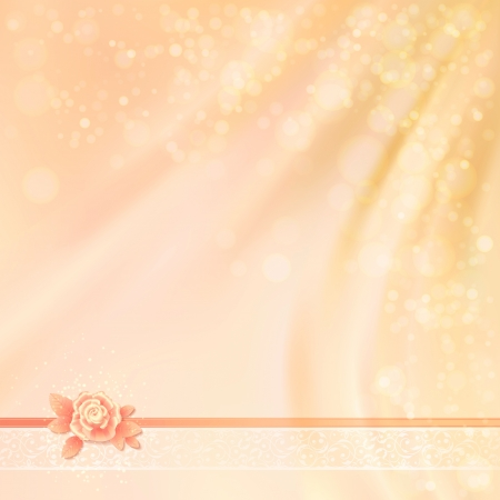pastel shades: Abstract Wedding Fabric Background Design with silk flower rose with striped petals, ribbon, lace, wave drapery, blurred lights, in shades of warm pastel colors