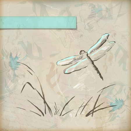 vintage grunge sketch dragonfly greeting card with hand drawn flowers, grass, banner with frame for text on old textured paper background