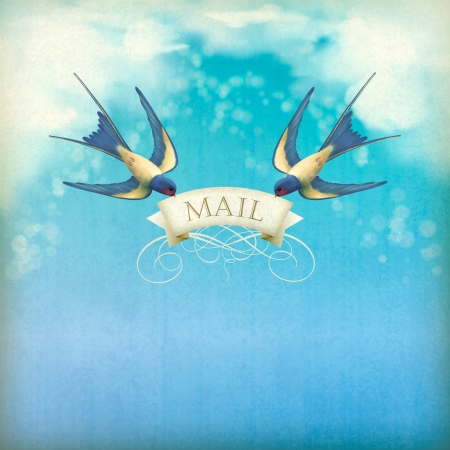 Swallows mail vintage postcard. Free flying birds (swallows) with decorative banner, text Mail on a blue sky nature background with white clouds, subtle grunge texture, blurs