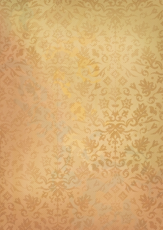Ornamental grunge seamless pattern on vintage old paper background. Vector
