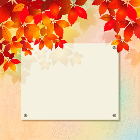 Autumn background with rough surface of plastered wall texture with billboard. Blank street advertising board on decorative grunge backdrop, season fall colorful leaves. Back to school vector illustration Vector