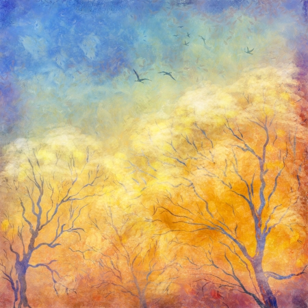 Grunge picture showing trees, brush strokes dramatic sky, flying migratory birds photo