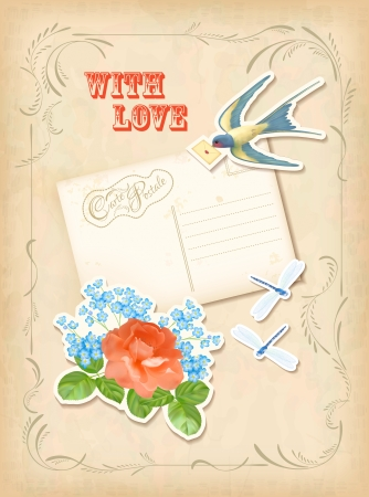 Vintage scrap postcard love design with scrapbook elements Vector