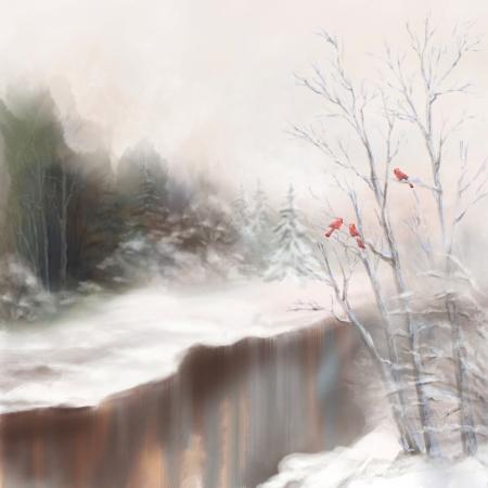aquarelle: Winter watercolor landscape