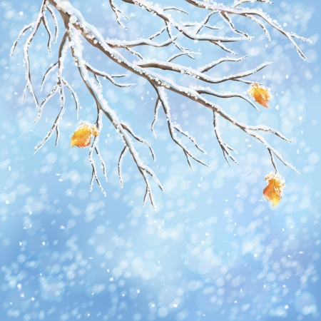 Christmas winter landscape greeting card Vector