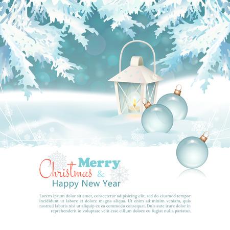 snowdrifts: Buon Natale & Capodanno celebrazione sfondo con lanterna Vettoriali