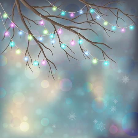 Christmas Light Bulbs on Xmas Vector Night Background.