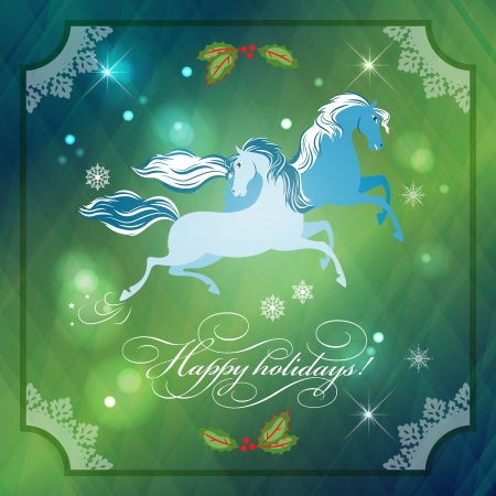 Christmas Horses on Abstract Night Background  with Holly, moon, lace frame, stars, snowflakes, lights, text. Xmas holidays card Vector