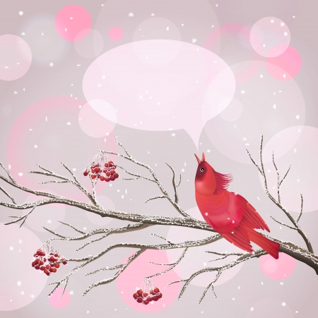 Vector snowy Christmas card with frozen Rowan tree branches, berries, singing red Waxwing bird, snowflakes, speech bubble on abstract bokeh background.  Vector