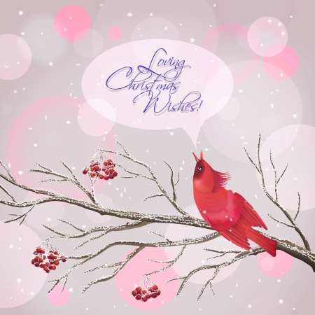 Vector snowy Christmas card with frozen Rowan tree branches, berries, singing red Waxwing bird, snowflakes, speech bubble, greeting text on abstract bokeh background.   Vector