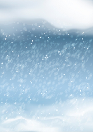 Vector abstract snowfall background with snowdrifts, night sky, clouds, snowflakes, bokeh, blurs on the dark blue backdrop. Falling snow winter season landscape Vector