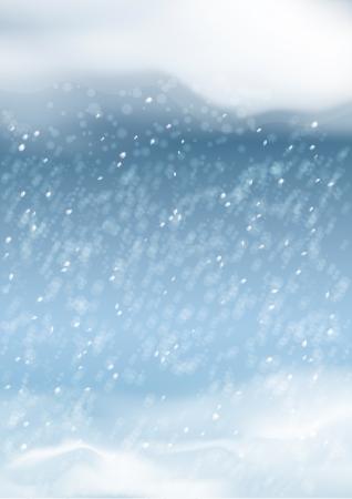 snowdrifts: Vector astratto nevicata sfondo con cumuli di neve, cielo notturno, nuvole, fiocchi di neve, bokeh, sfuma sullo sfondo blu scuro. Caduta di neve paesaggio di stagione invernale