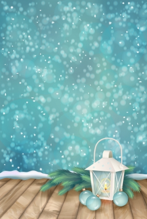 Vector Winter Christmas Scene Background. Xmas landscape with fir tree branches, lantern, baubles, snowflakes, textured wooden floor on abstract bokeh backdrop