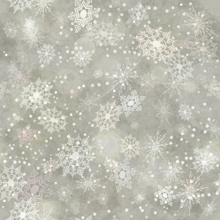 Wrapping Christmas vintage paper background with snowflake seamless pattern, subtle grunge texture, bokeh. Vector holiday winter retro wallpaper backdrop Vector