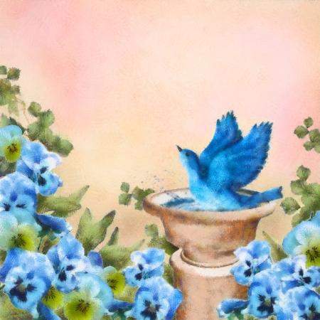 Romantic pastel and watercolor drawing garden scene