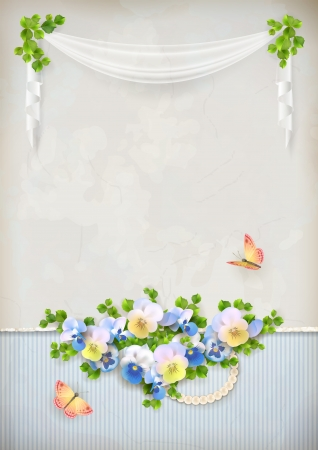 Shabby chic romantic floral vintage card with pansy flower arrangement, butterfly, green leaves, pearls necklace on marble wall textured background in retro style Vector