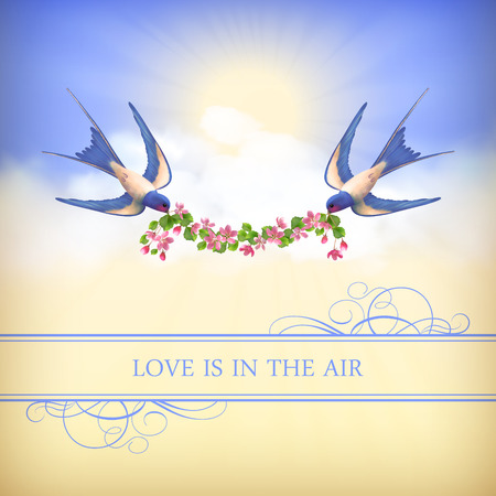 Flying birds with flower garland on sky background. Romantic concept wedding or valentine card. Vector landscape, swallows, cherry blossom, clouds, sunrays, border, text: Love is in the air Vector