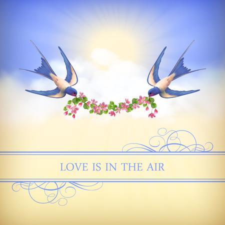 P�jaros de vuelo con guirnalda de flores en el fondo del cielo. Concepto rom�ntico de la boda o de la tarjeta de San Valent�n. Vector paisaje, golondrinas, flor de cerezo, las nubes, los rayos del sol, la frontera, el texto: El amor est� en el aire