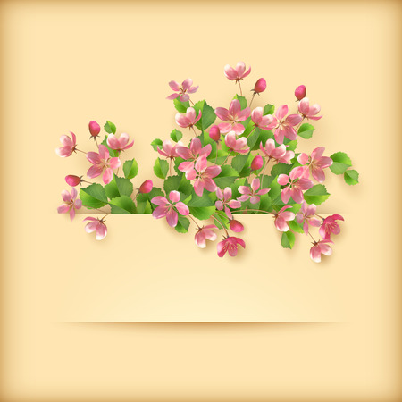 Vector floral greeting card with pink cherry blossom flowers, leaves and banner on holiday spring background. Perfect for wedding, birthday or invitation design