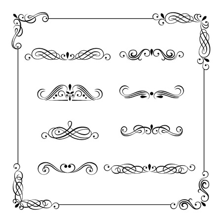 Set of vintage vector frame, border, divider, corner. Retro elements collection. Ornate page decor elements for calligraphy design