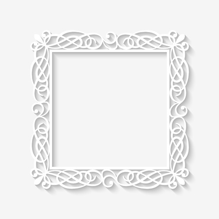regal: Vector vintage white frame background with long shadows. Blank square paper frame with Baroque pattern and retro decorations on gray wall Illustration