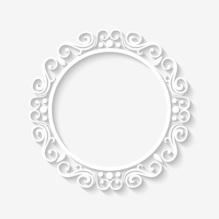 regal: Vector vintage circle white border frame with long shadows. Blank square paper frame with Baroque pattern and retro decorations on gray wall