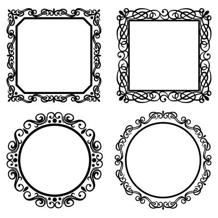 Conjunto de marcos vintage vector, fronteras. Colecci�n de elementos retros. Elementos de la p�gina adornado decoraci�n, cuadros de texto para el dise�o de la caligraf�a