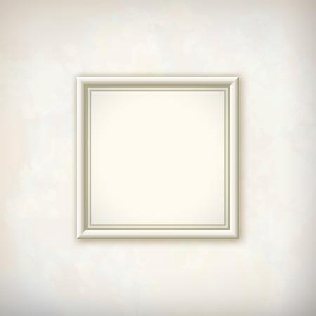 Imagen cuadrada Border marco blanco en la pared de yeso de fondo abstracto con una sutil textura delicada grunge de la superficie en tonos de colores pastel