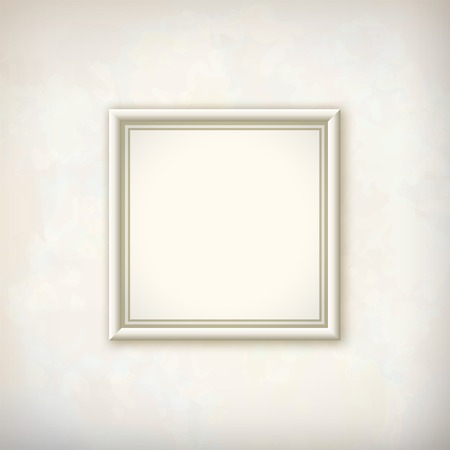 Border square picture white frame on plaster wall abstract background with subtle delicate grunge texture of surface in shades of light pastel colors
