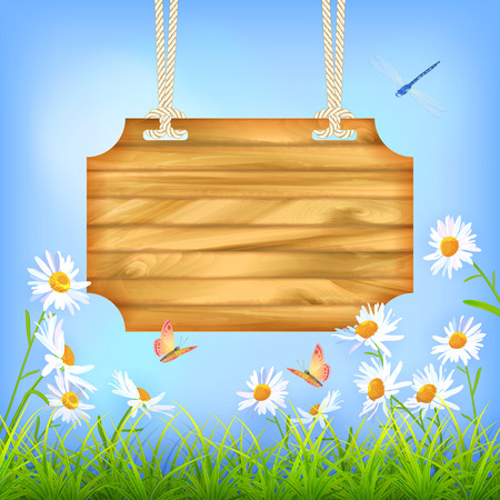 Vector wooden sign board hanging on a rope, blue sky, green grass, Daisy flowers, butterfly, dragonfly. Summer day natural background … Illustration