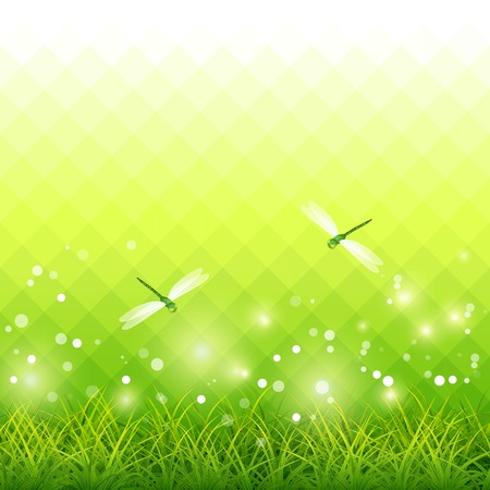 Vector green season background with grass, dragonfly, lights, backdrop mosaic geometric pattern    Vector