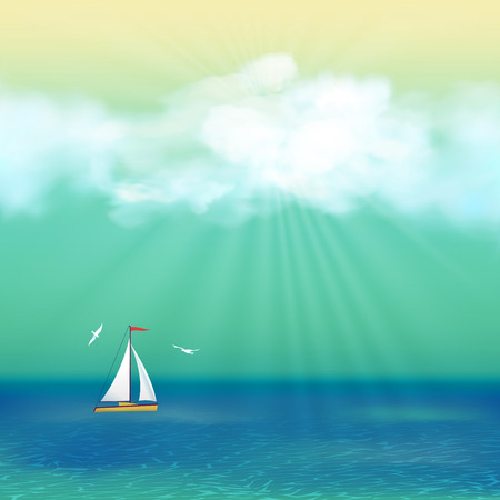 boat party: Retro Summer Travel Poster Design. Sea landscape with blue sky, cloud, yacht, gull, azure water, sunrays at sunny day in vintage style
