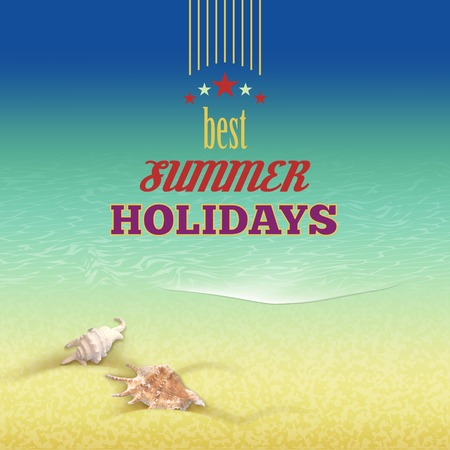 sand beach: Vector summer holidays seascape with retro color background, sea shells, sand beach, best summer holiday text in vintage style. Calligraphic design element Illustration