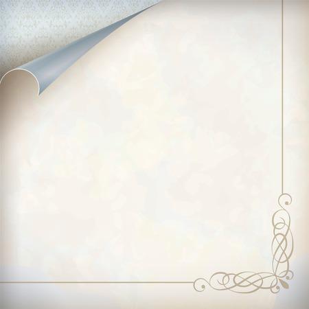 corner frame: Vintage curled corner card. Old paper textured background, wallpaper pattern, corner frame border in pastel colors