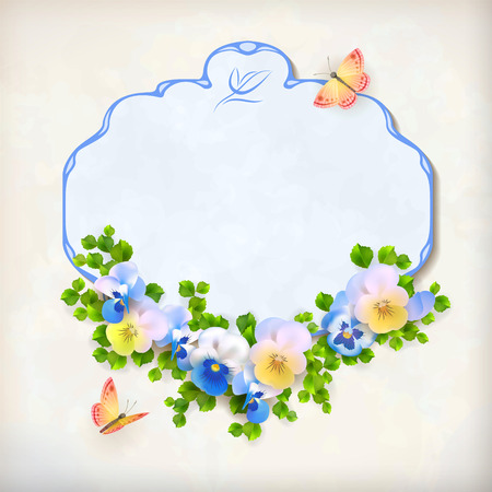 arrangement: Vector floral vintage card with frame border, pansy flower arrangement, butterfly, green leaves on textured background in retro style