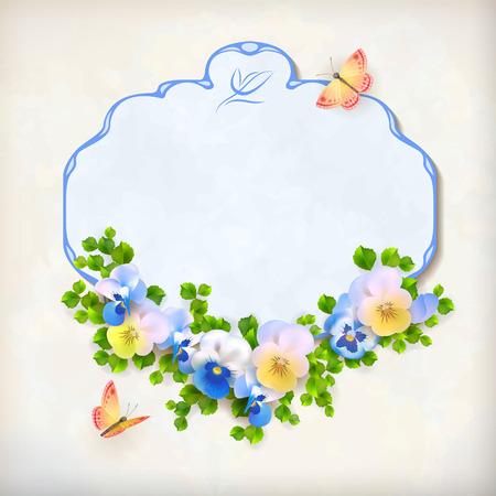 Vector floral vintage kaart met frame grens, viooltje bloemstuk, vlinder, groene bladeren op gestructureerde achtergrond in retro stijl