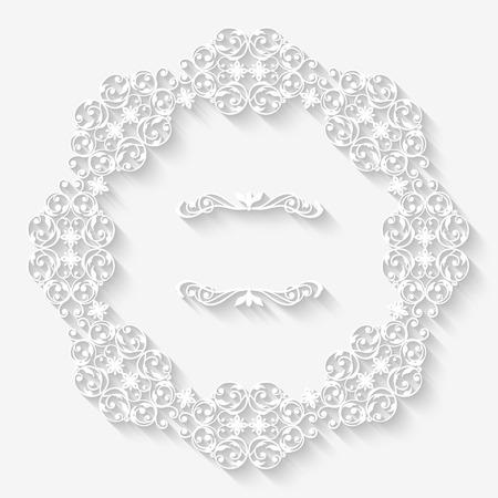 vintage circle white border frame with long shadows.  Illustration
