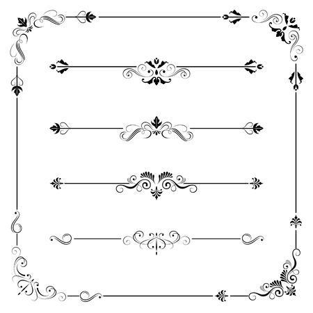 ビンテージ ベクトル フレーム境界線分周器コーナーのセットです。レトロな要素のコレクション。書道デザインの華やかなページの装飾要素