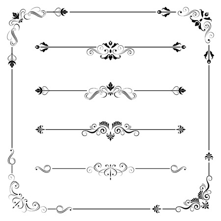 Set of vintage vector frame border divider corner. Retro elements collection. Ornate page decor elements for calligraphy design Illustration