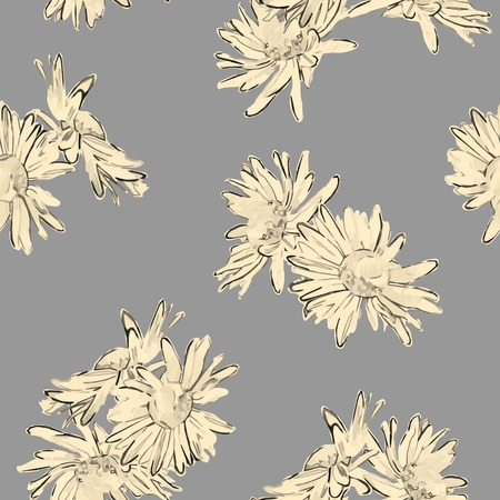 camomile flower: Vintage vector seamless pattern with hand drawn flowers  Retro floral wallpaper classic style background