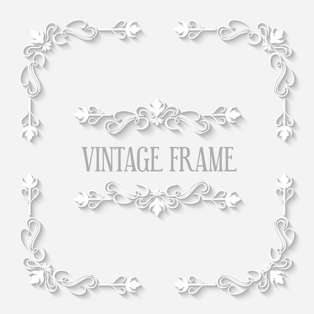 Frame vintage white border with long shadows