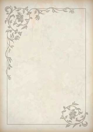 baroque border: vintage border frame at grunge textured old paper background with decorative pattern in antique baroque style