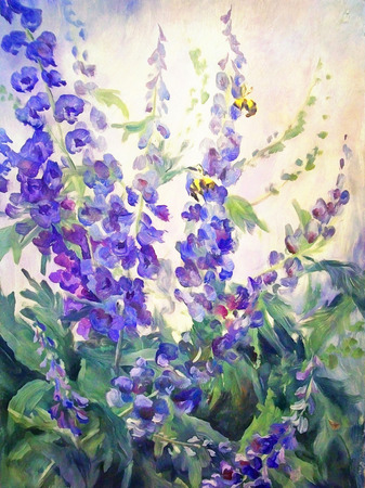 Flowers and bee summer floral oil digital painting landscape with delphinium and lupine