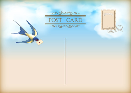 postal card: vintage postcard with free flying bird swallow, letter mail on a blue sky nature background with white clouds