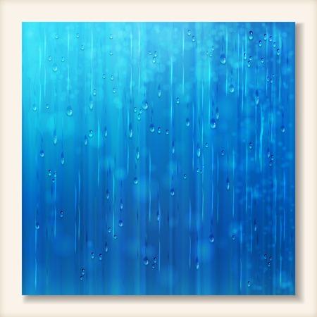 rain window: Blue shiny rain on window