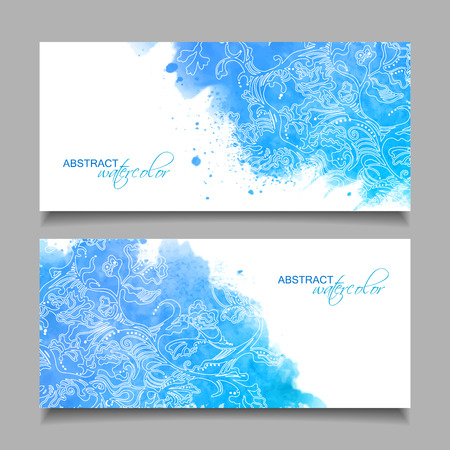 aquarelle: Abstract vector watercolor blue banners with hand drawn floral sketch pattern and subtle grunge texture on white background