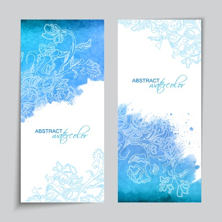 watercolor smear: Abstract vector watercolor blue banners with hand drawn floral sketch pattern and subtle grunge texture on white background