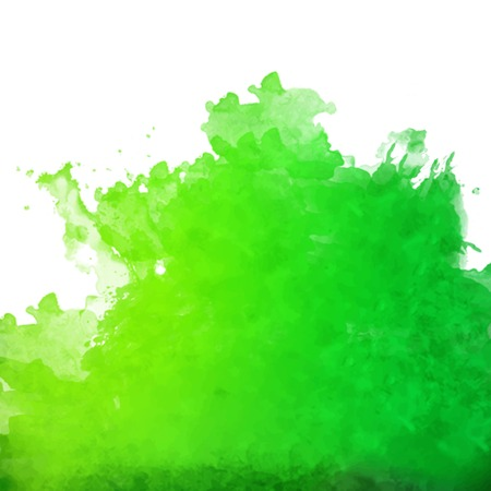 Vector green watercolor splash  Hand drawing abstract background