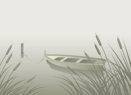 Landscape with lake, boat, reeds silhouette in the water Illustration
