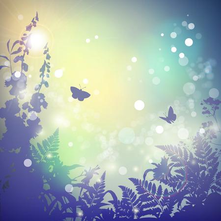 wild grass: Vector verano paisaje de la naturaleza de fondo. Hierba salvaje, hierbas, mariposas y flores silueta. Sunset. Cartel de la vendimia en el color retro. Desenfoque. Bokeh